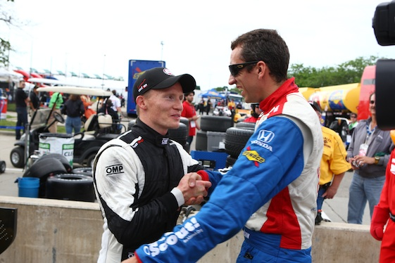 Justin Wilson, right, was one of the most popular drivers in the paddocks. His death has taken a toll on young Sage Karam. (Photo courtesy of the IZOD IndyCar Series)