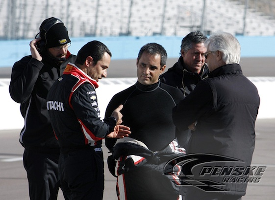 Juan Pablo Montoya and Helio Castroneves talked racing in Milwaukee this weekend. (File photo courtesy of Team Penske)