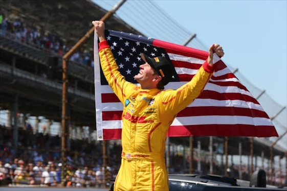 Ryan Hunter-Reay put another American face on the Borg Warner Trophy last year. (Photo courtesy of INDYCAR)
