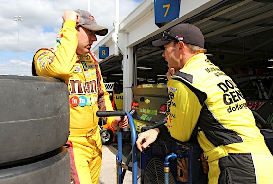 Joe Gibbs Racing drivers Kyle Busch and Matt Kenseth will start from the front row in Charlotte on Saturday. (RacinToday/HHP photo by Christa L Thomas)