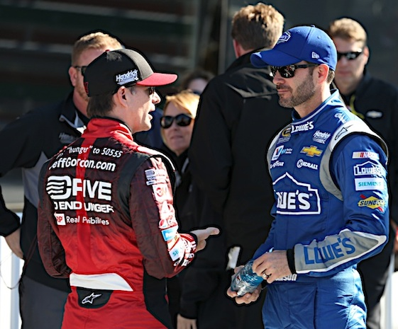 Jimmie Johnson won the pole at Phoenix on Friday and could extend teammate Jeff Gordon a bit of help with a win on Sunday. (RacinToday/HHP photo by Harold Hinson)