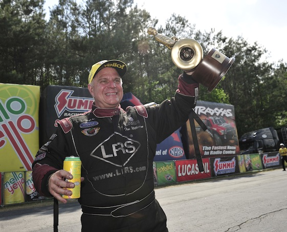 Tim Wilkerson picked up the Pro Stock hardware at Atlanta Dragway on Sunday.