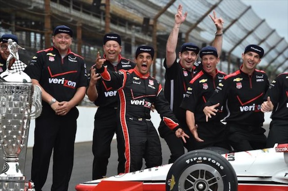 Monday was a day of posing for photos and collecting swag for Indy 500 winner Juan Pablo Montoya and his team. (Photos courtesy of the Verizon IndyCar Series)