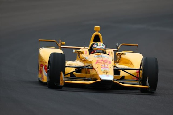 Ryan Hunter-Reay of Andretti Autosport showed off the Honda aero kit as practice for the 500 began at Indianapolis Motor Speedway.