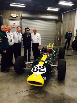 The Lotus that Jimmy Clark drove, Ford powered and the Wood Brothers pitted in 1965, will make a redux at Indy. On hand at Indy Thursday were, from left, Lotus Classic's Clive Chapman, son of team-owner Colin Chapman; Christian Overland, vice president of The Henry Ford museum and colleague Matt Anderson; Dario Franchitti, a three-time Indy 500 champion who grew up in Scotland as a Jim Clark fan, and Leonard Wood, whose Wood Brothers NASCAR pit crew serviced the No. 82 to victory on May 31, 1965. (RacinToday photo by Martha Fairris)
