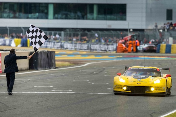 The Chevrolet Corvette Racing C7.R driven by Oliver Gavin, Tommy Milner and Jordan Taylor, races to victory at Circuit de la Sarthe in 2015.