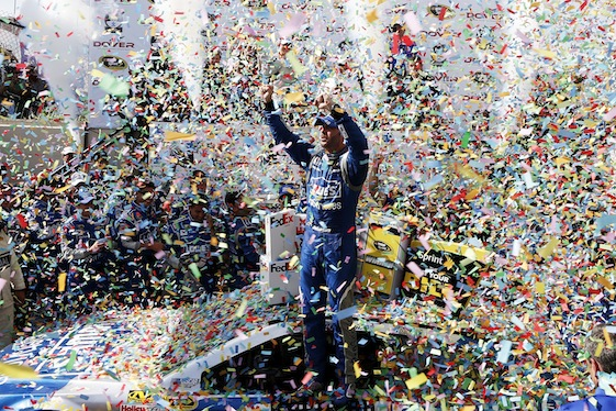 Jimmie Johnson, driver of the #48 Lowe's Pro Services Chevrolet, celebrates in Victory Lane after winning the NASCAR Sprint Cup Series FedEx 400 Benefiting Autism Speaks at Dover International Speedway on May 31, 2015 in Dover, Delaware.  (Photo by Todd Warshaw/Getty Images)