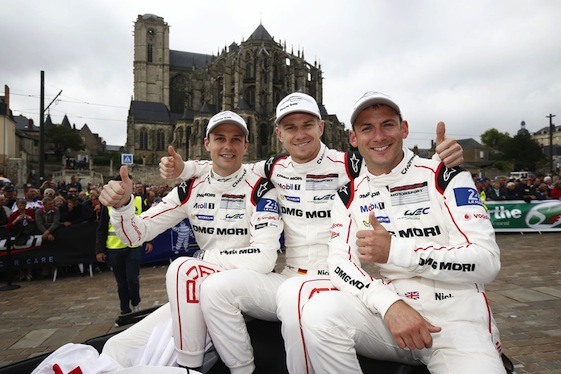 Winning Le Mans drivers from the No. 19 Porsche 919 Hybrid were Earl Bamber, Nico Hulkenberg and Nick Tandy.