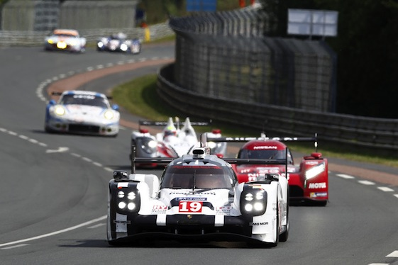 The No. 19 Porsche 919 Hybrid heads to victory at Le Mans.