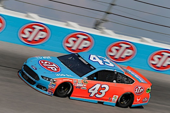The Richard Petty Motorsports No. 43 car and its driver are sporting a throw-back looks this weekend in Darlington.  (RacinToday/HHP photo by Garry Eller)