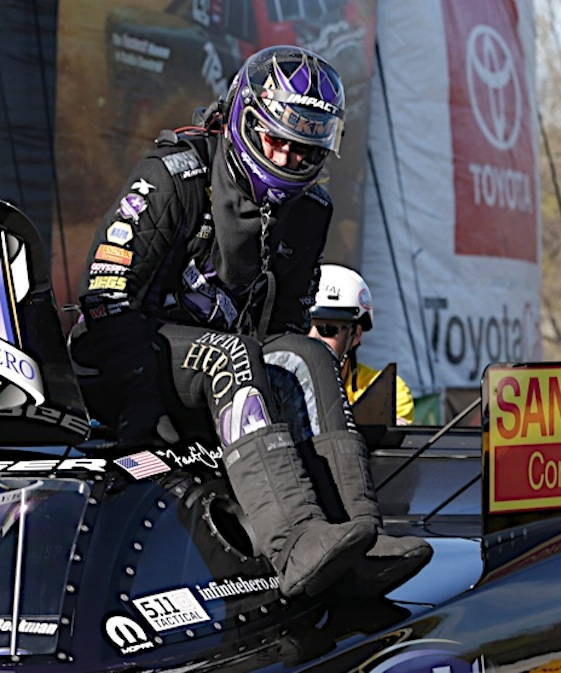 """Funny Car driver """"Fast Jack"""" Beckman is in position to sweep the Western Swing this weekend. (RacinToday/HHP file photo by Harold Hinson)"""