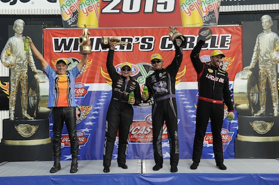 Taking home the hardware from the U.S. Nationals Sunday were Jerry Savoie, Erica Enders, Jack Beckman and Morgan Lucas.