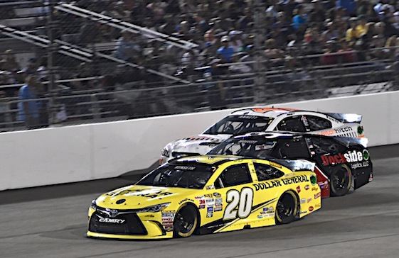 Matt Kenseth, who won at Richmond Saturday night, leads a Joe Gibbs Racing parade of drivers into NASCAR's 2015 Chase for the Sprint Cup Championship. (RacinToday/HHP photo by Rusty Jarrett)