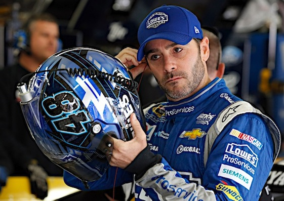 Six-time Cup champion Jimmie Johnson this weekend talked about last weekend and his altercation with Kevin Harvick. (RacinToday/HHP photo by Andrew Coppley)