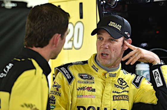 Joe Gibbs Racing driver Matt Kenseth will lead the field to the green flag – and then, if history repeats itself, to the checkers – in Saturday night's Sprint Cup race at Charlotte Motor Speedway. (RacinToday/HHP photo by Rusty Jarrett)