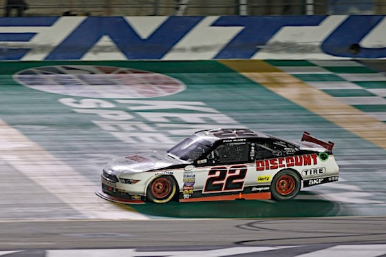 Ryan Blaney was first to cross the finish line in Saturday night's XFINITY Series race at Kentucky Speedway. (RacinToday/HHP photo by Gregg Ellman)