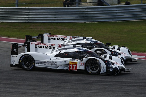 Porsche 919s run side by side through a turn during Saturday's World Endurance Championship race at Circuit of the Americas in Austin, Texas. (Photos courtesy Porsche North America)