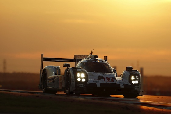 The No. 17 Porsche 919 cuts through the Texas sunset en route to the podium at Circuit of the Americas on Saturday.