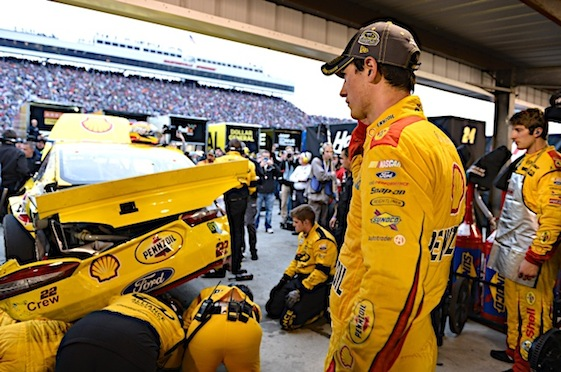 Joey Logano said Friday that being wrecked by Matt Kenseth at Martinsville broke his car but not his team's confidence. (RacinToday/HHP photo by Rusty Jarrett )