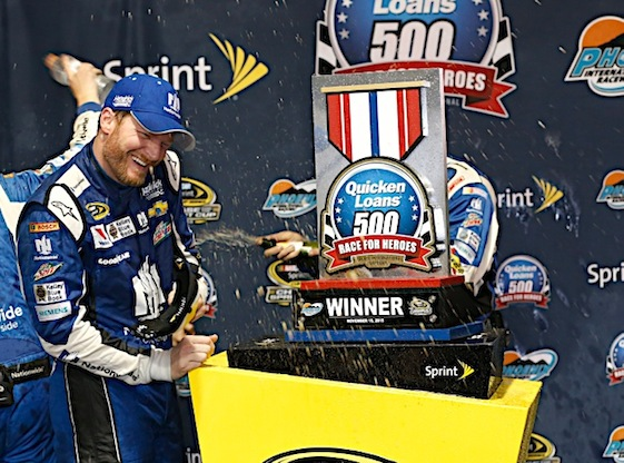Dale Earnhardt Jr. got the victory in Sunday's rain-shortened Sprint Cup race at Phoenix International Raceway. Four other drivers, however, will race for the championship next weekend in Florida. (RacinToday/HHP photo by Andrew Coppley)