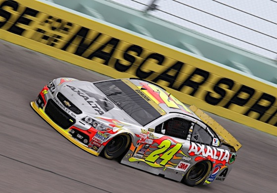 Jeff Gordon and the iconic No. 24 Chevrolet at Homestead – one last time. (RacinToday/HHP photo by Garry Eller)