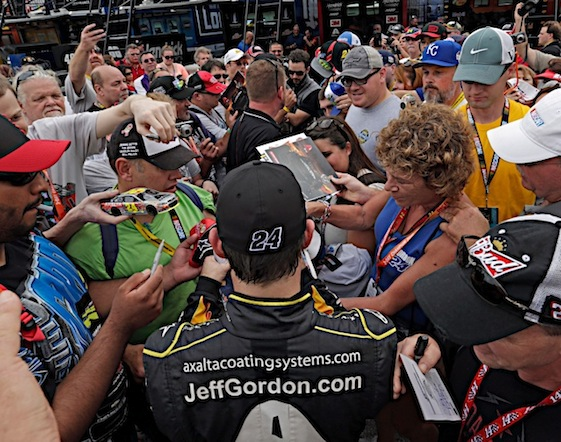 Once one of the most hated drivers in NASCAR, Jeff Gordon has become a fan favorite. (RacinToday/HHP photo Harold Hinson)
