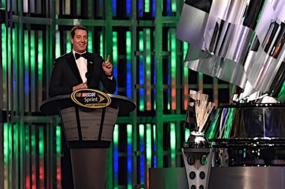 2015 Sprint Cup champion Kyle Busch was the man of the evening Friday in Las Vegas. (RacinToday/HHP photo by Rusty Jarrett )