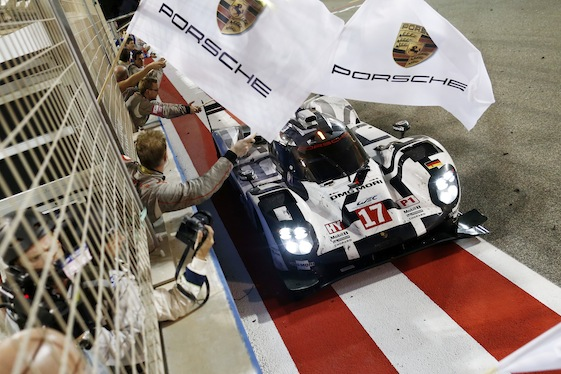 The 2015 Bahrain winning Porsche 919 Hybrid driven by Romain Dumas, Neel Jani and Marc Lieb.