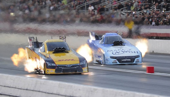 Del Worsham won the Funny Car championship in style on Sunday as he beat Tommy Johnson Jr. in the final round of eliminations in Pomona.