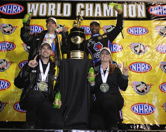 The NHRA crowned its 2015 champions on Sunday. They are, top row, Del Worsham (Funny Car) and Antron Brown (Top Fuel). Bottom are Andrew Hines (Pro Stock Motorcycle) and Erica Enders (Pro Stock).