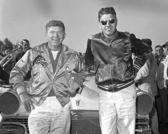 NASCAR superstars – and now Hall of Famers – Joe Weatherly (L) and Curtis Turner (R) at Orange Speedway. (Photo by ISC Images & Archives via Getty Images)