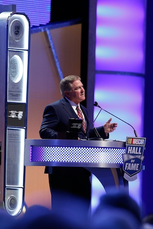 The ice melted a bit for Terry Labonte during his acceptance speech at the Hall of Fame on Saturday. (Photo by Bob Leverone/NASCAR via Getty Images)