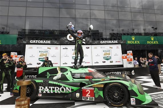 Pipo Derasi celebrates after piloting the No. 2 Tequila Patron EMS Honda Ligier to a dominating victory at the Rolex 24 on Sunday.  ©2016, Michael L. Levitt LAT Photo USA