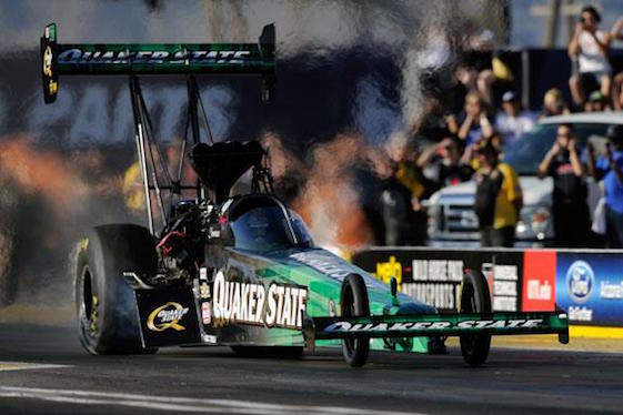 Leah Pritchett will be back in a Quaker State dragster this weekend.