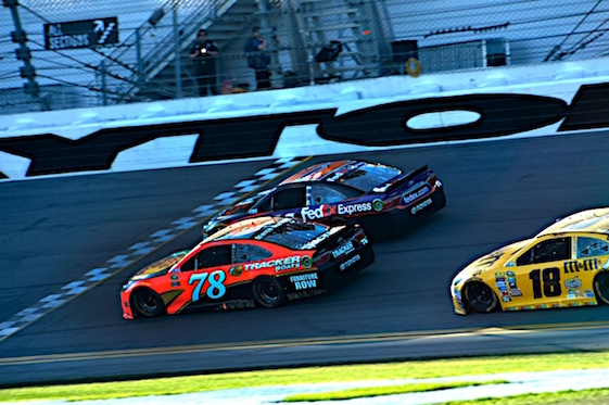 Martin Truex Jr. raced Denny Hamlin to the finish line in Daytona this year. (RacinToday/HHP photo by Rusty Jarrett)