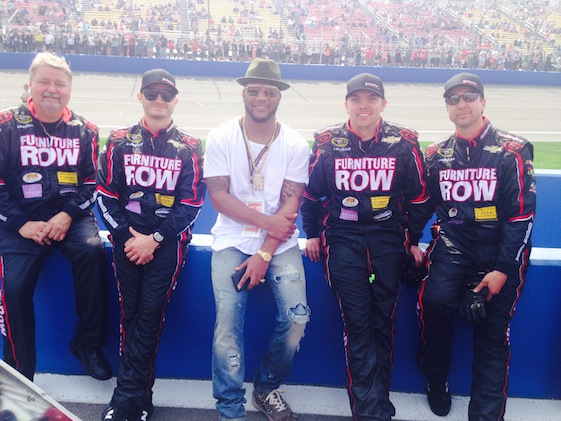Denver Broncos safety T.J. Ward hung out with members of the Furniture Row Racing team at California Speedway last year. Today, some on the FRR team will be rooting for the Broncos to beat the Carolina Panthers in Super Bowl 50.