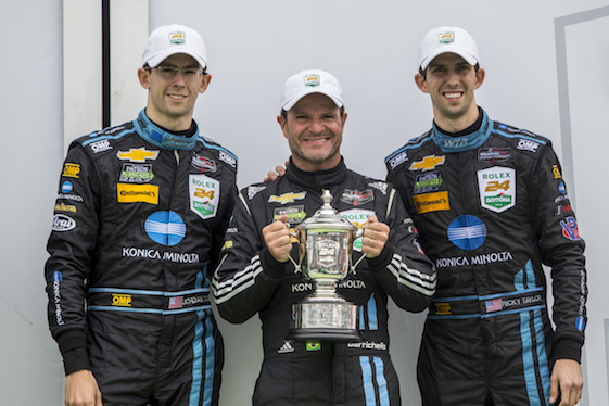 Teaming with brothers Jordan (left) and Ricky Taylor, Rubens Barrichello had a successful WeatherTech Series debut at Daytona in January. They finished second.