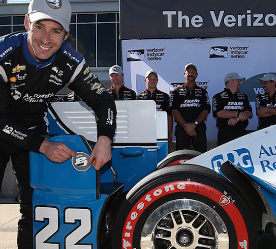 Simon Pagenaud of Team Penske drove to the pole position Saturday in Alabama.