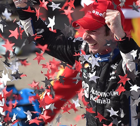 Simon Pagenaud celebrates his victory in the IndyCar Series race at Barber Motorsports Park in Alabama.