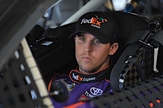 Denny Hamlin will start Saturday night's Sprint Cup Series race from the pole.