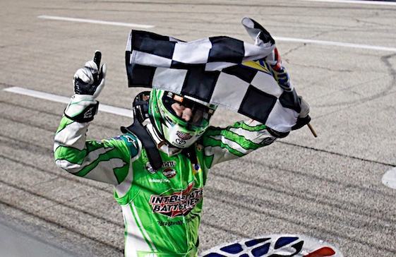 Kyle Busch added to his checkered flag collection Saturday night in Fort Worth. (RacinToday/HHP photo by Alan Marler)