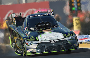 Funny Car driver Alexis DeJoria and her team put their 2015 woes behind them last weekend in Las Vegas. (Photos courtesy of Alexis DeJoria Racing/Kalitta Motorsports)