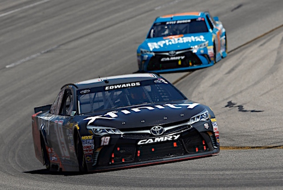 Carl Edwards pulled away from teammate Kyle Busch at the end of Sunday's race in Richmond. He pulled away after elbowing Busch out of the lead. (RacinToday/HHP photo by Andrew Coppley)