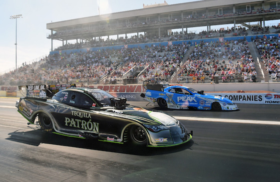Alexis DeJoria took down former Funny Car champion Robert Hight in eliminations at Las Vegas last weekend.