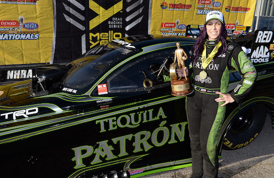 "Alexis DeJoria was reunited with her old friend ""Wally"" in Las Vegas last weekend. The had last met in 2014. (Photos courtesy of Alexis DeJoria Racing/Kalitta Motorsports)"