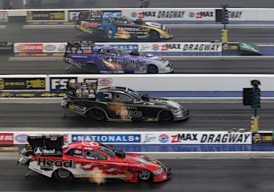 Matt Hagan, Jack Beckman, Alexis Dejoria, Chad Head went for the pole in Funny Car Saturday At zMAX Dragway in Concord, N.C. DeJoria earned P1 in record fashion. (RacinToday/ HHP photo by Garry Eller)
