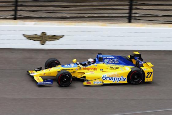 Marco Andretti laid down the fastest lap on the first day of practice at Indy on Monday.