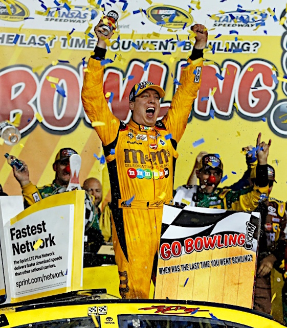 Kyle Busch finally notched a happy ending at Kansas Speedway. (RacinToday/HHP photo by Alan Marler)