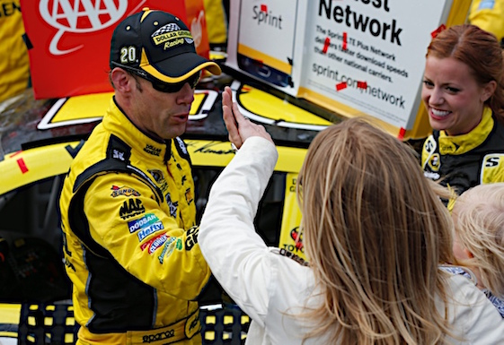 Matt Kenseth gets a high five from his wife in Victory Lane at Dover. (RacinToday/HHP photo by Gregg Ellman)