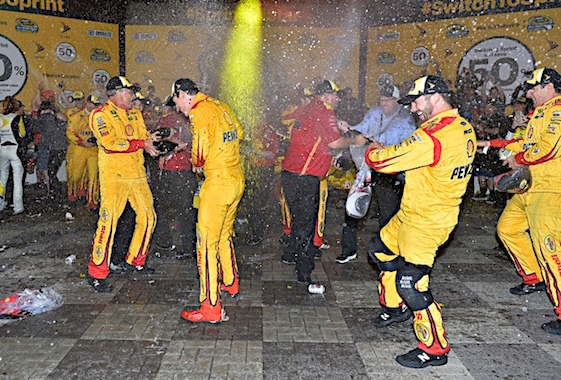 The scene in Victory Lane was almost as chaotic as the racing itself was during Saturday night's NASCAR Sprint Cup All-Star Race. (RacinToday/HHP photo by Rusty Jarrett )